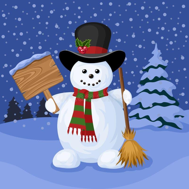 Рождественская открытка с снеговиком и ландшафтом зимы. иллюстрация вектора