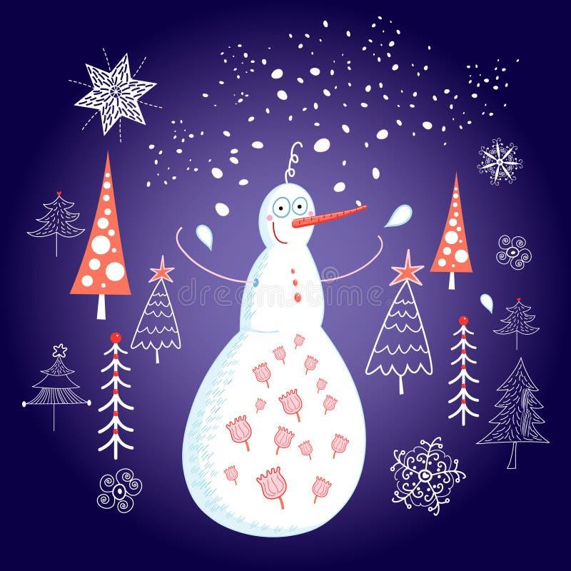 Рождественская открытка с снеговиком иллюстрация вектора