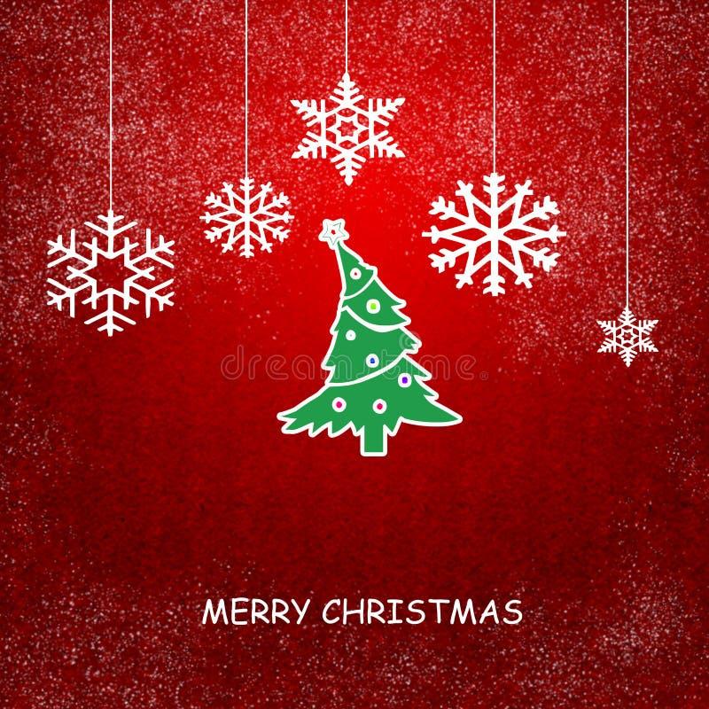 Рождественская открытка с снежинками бесплатная иллюстрация