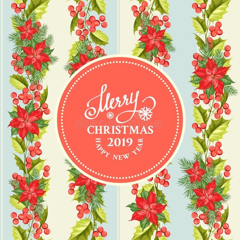Рождественская открытка с текстом картины и шаблона цветка poinsettia бесплатная иллюстрация