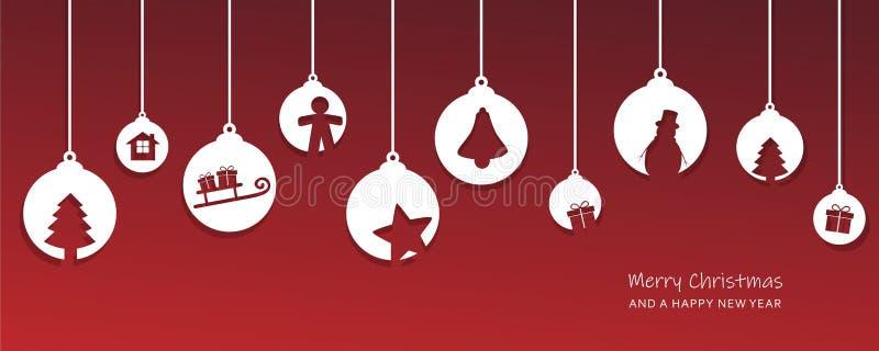 Рождественская открытка с украшением шариков дерева красным и белым иллюстрация штока