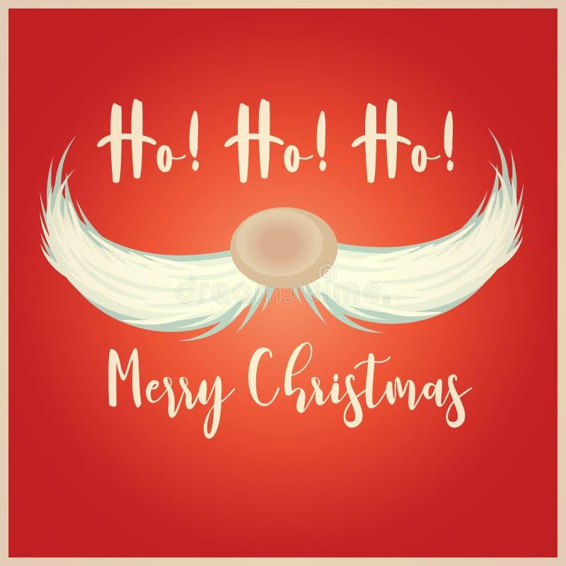 Рождественская открытка с усиком Санта бесплатная иллюстрация