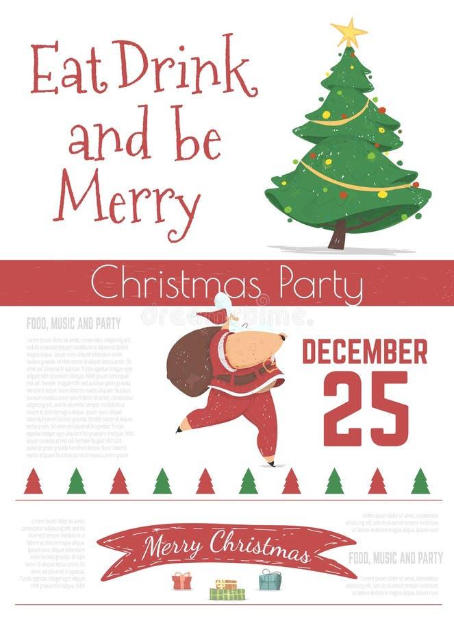 Рождественская праздничная вечеринка в стиле мультипликатора бесплатная иллюстрация
