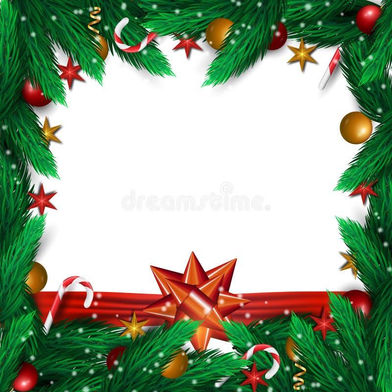 Рождественская пусто на белом фоне с ветками, красными шариками и носом Иллюстрация вектора иллюстрация штока
