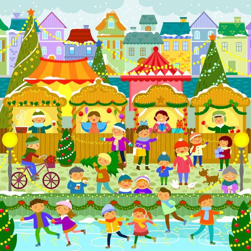 Рождественская ярмарка в городке бесплатная иллюстрация