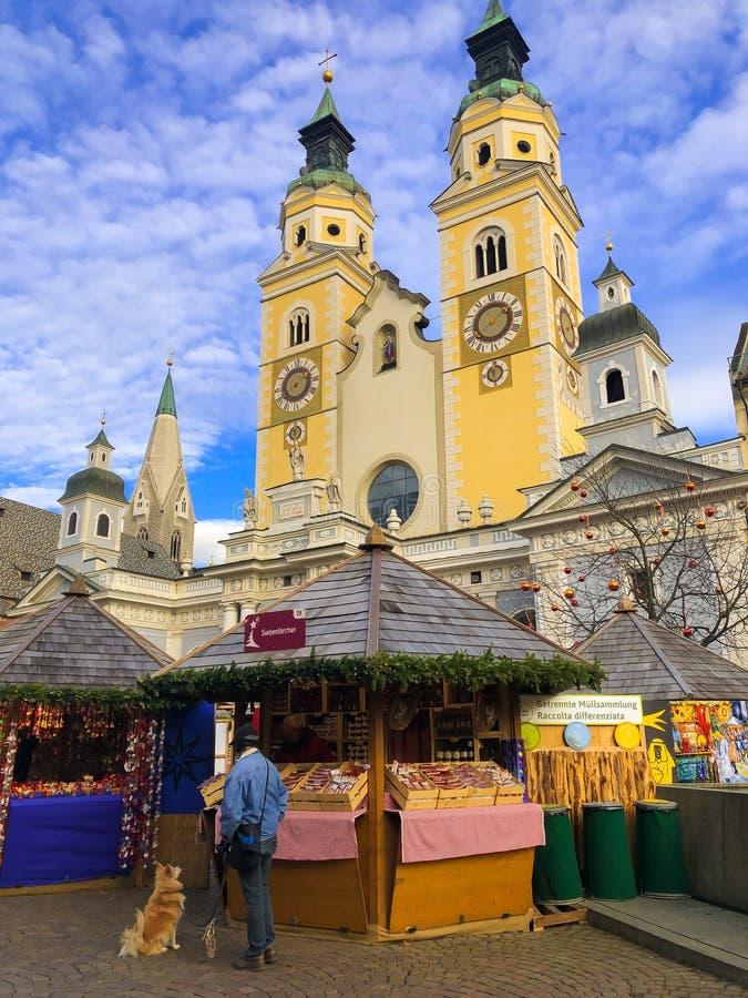 Рождественская ярмарка Bressanone на квадрате Duomo, альте Адидже стоковые фото