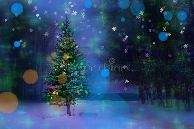 Рождественская ёлка Рождественский и новогодний праздничный бокех фон стоковое фото