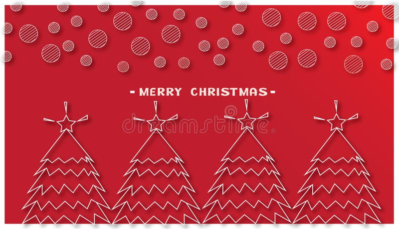 Рождественские елки и круглая снежинка на красной предпосылке иллюстрация вектора