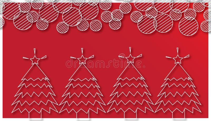Рождественские елки и круглая снежинка на красной предпосылке иллюстрация штока