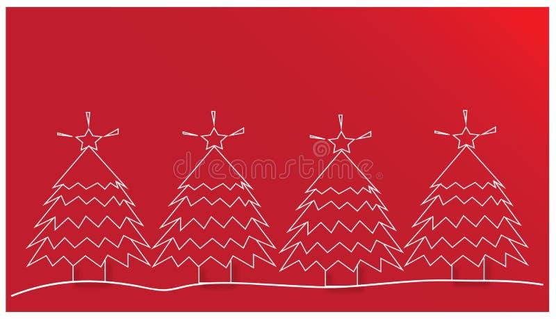 Рождественские елки на красной предпосылке иллюстрация штока