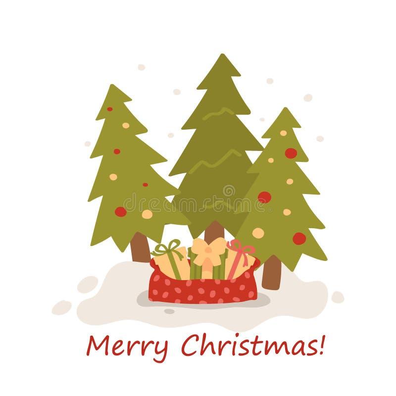 Рождественские елки на снеге изолированном на белой предпосылке E Иллюстрация вектора руки нарисованная плоско иллюстрация штока