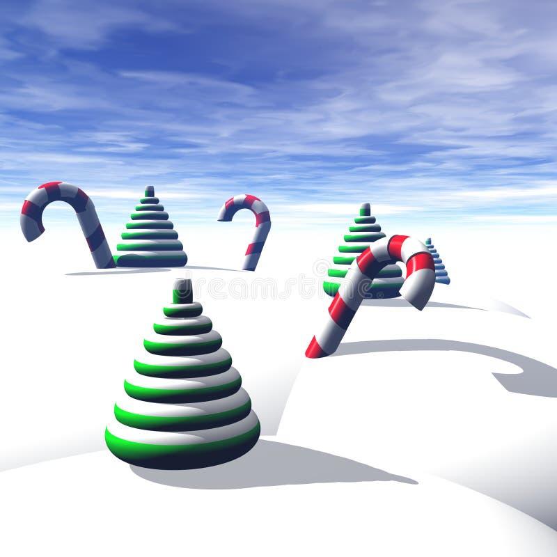 рождественские елки тросточек конфеты иллюстрация вектора