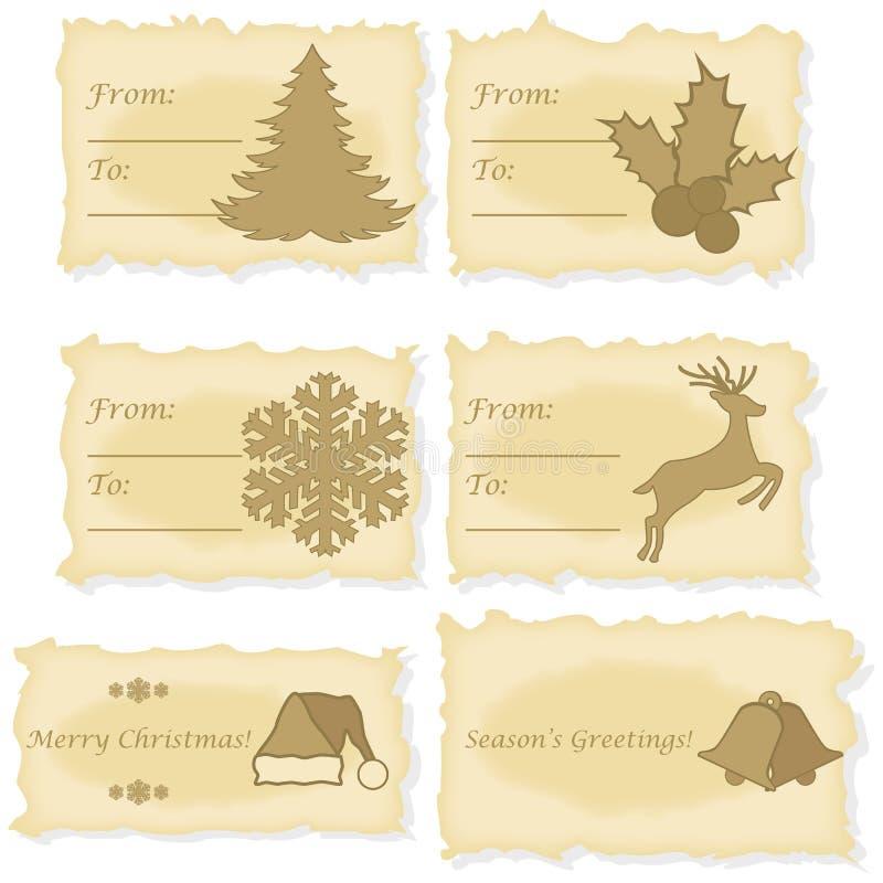 Рождественские открытки напечатанные на старой бумаге бесплатная иллюстрация