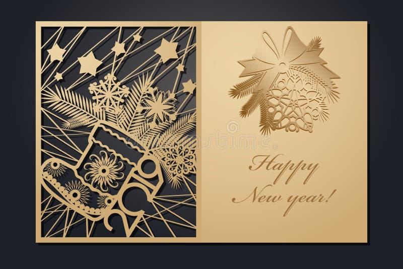 Рождественские открытки шаблона для вырезывания лазера Изображение сквозного Нового Года силуэта также вектор иллюстрации притяжк бесплатная иллюстрация