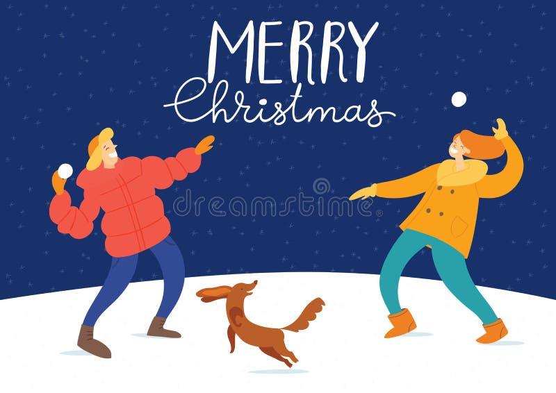 Рождественские открытки Mery вектора со счастливыми людьми иллюстрация вектора