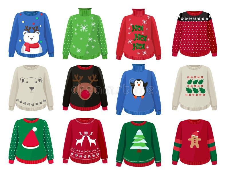 Рождественские свитера Смешная уродливая одежда с векторными карикатурами для украшения христма иллюстрация штока