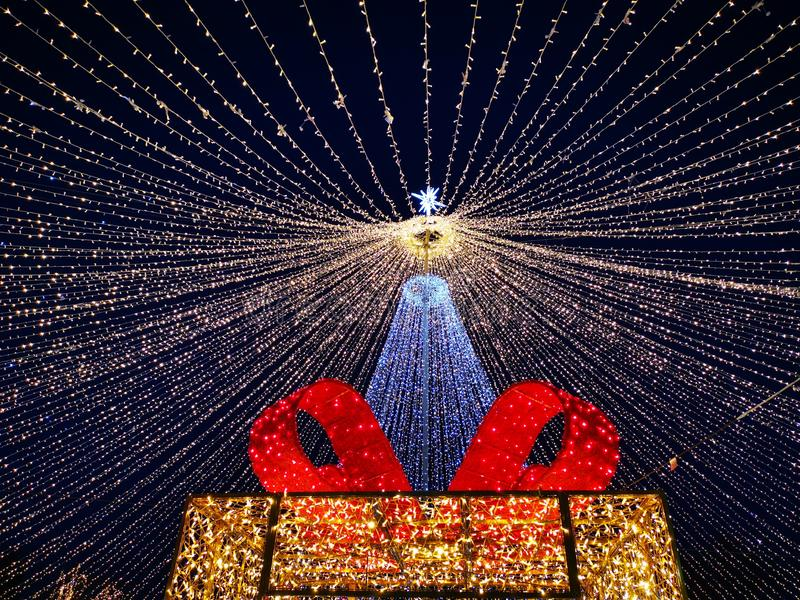 Рождественские украшения в парке ночью стоковая фотография