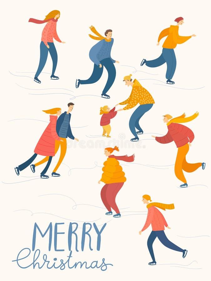 Рождественский постер с людьми проводит зимние мероприятия стоковые изображения