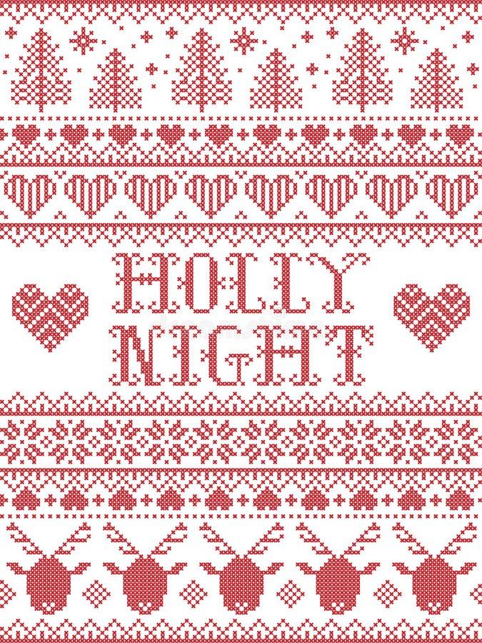 Рождественский рисунок Холли Ночной Рождества со скандинавской праздничной зимней сервией в перекрестном шове с сердцем, снежинко стоковые изображения