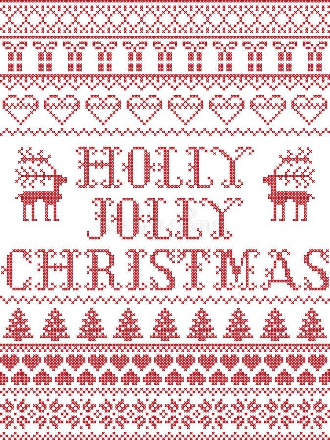 Рождественского гимна рождества падуба картины рождества картина весёлого безшовная воодушевила к зима нордической культуры празд иллюстрация вектора