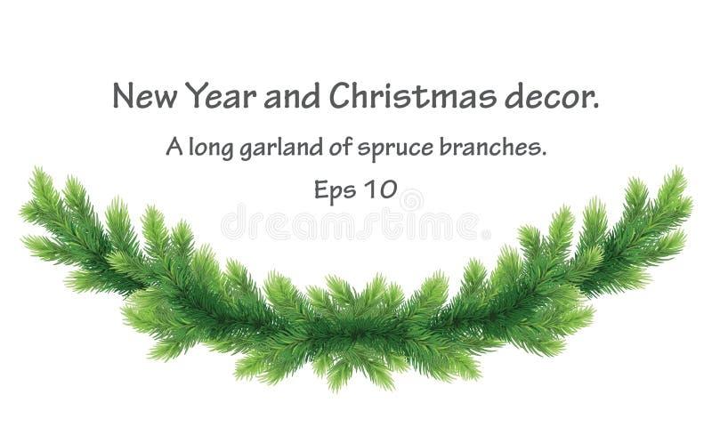 Рождественское праздничное украшение праздничная гарланд с сосновыми филиалами для дизайнерского баннера, билета, приглашения или иллюстрация штока