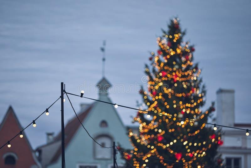Рождественское украшение в старом городе стоковое фото