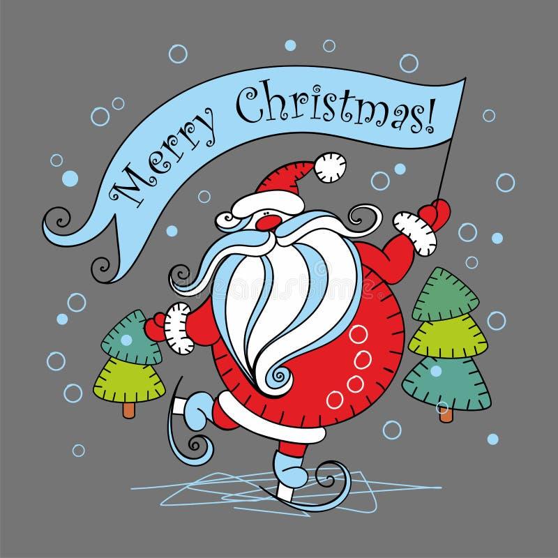 рождество веселое дополнительный праздник формата карты Санта Клаус на коньках также вектор иллюстрации притяжки corel иллюстрация вектора