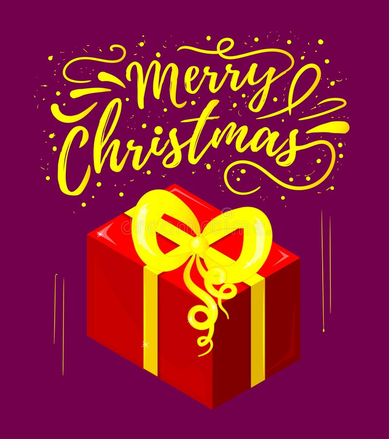 рождество веселое Зимний отдых Открытка с иллюстрацией надписи и подарка иллюстрация штока