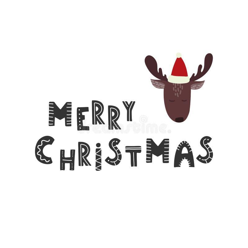 рождество веселое Милые олени с предпосылкой снежинок иллюстрация вектора