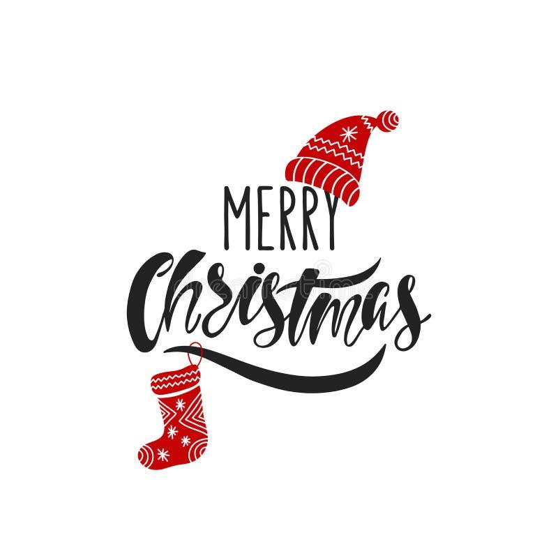 рождество веселое Нарисованный рукой текст каллиграфии Дизайн оформления праздника с носком и шляпой рождества Черная и красная р бесплатная иллюстрация