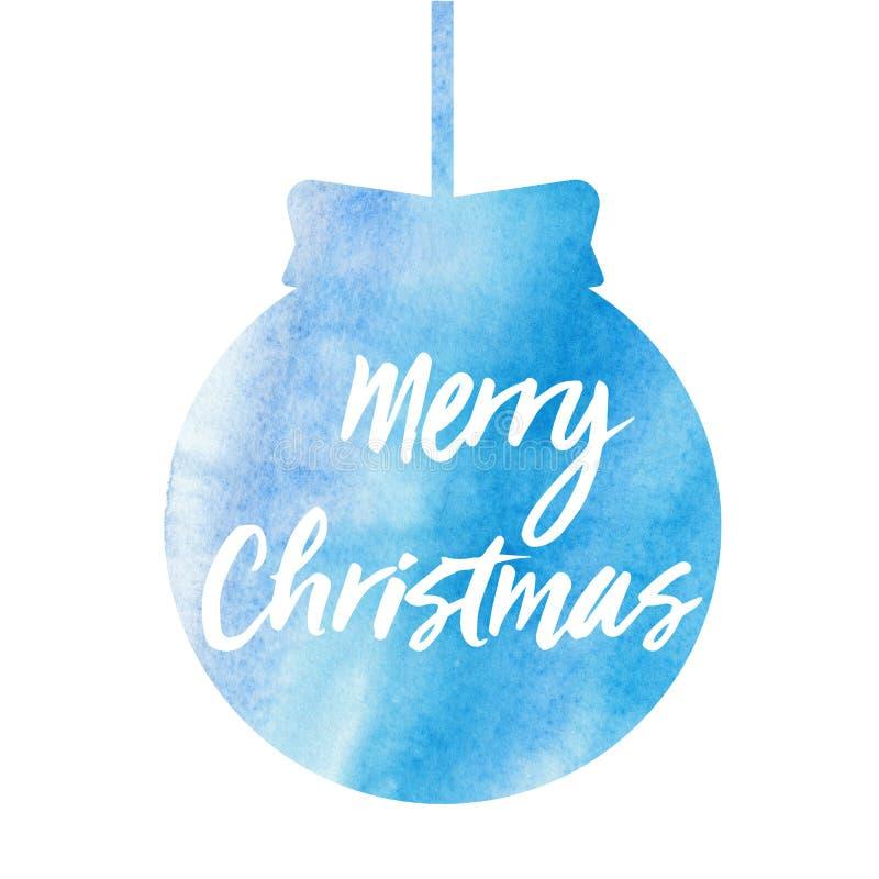 рождество веселое Рождественская открытка с шариком рождества акварели стоковые изображения