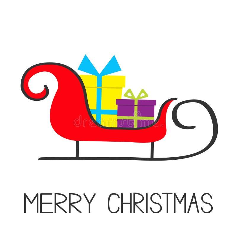 рождество веселое Сани Санта Клауса с комплектом подарочной коробки иллюстрация штока