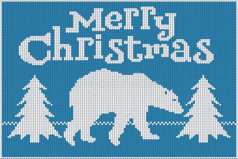 рождество веселое Связанные свитер, голубой и белизна, отличающ полярным медведем и рождественскими елками иллюстрация штока