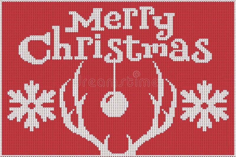 рождество веселое Связанные свитер, красный и белый, с живописаниями antlers и снежинок оленей иллюстрация вектора