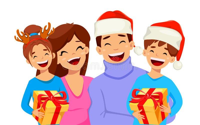 рождество веселое Счастливая семья нося милые шляпы и празднуя праздник Годный к употреблению для поздравительной открытки, плака иллюстрация вектора