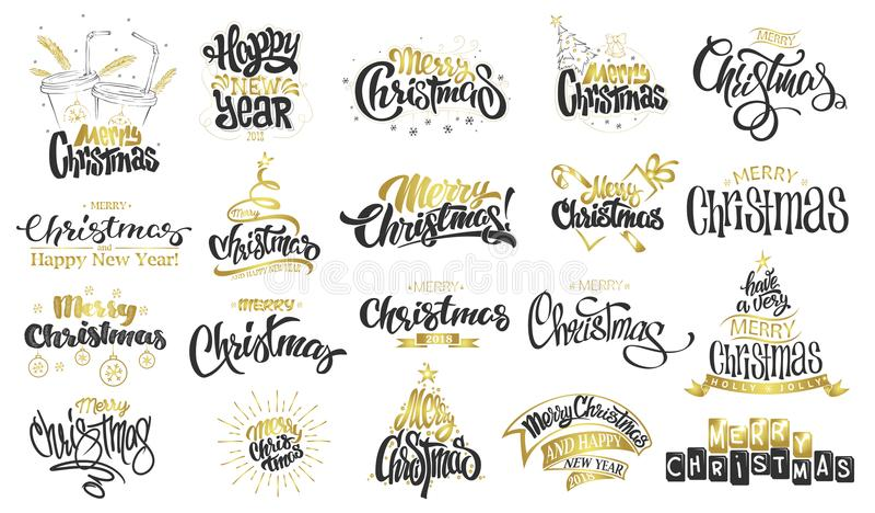 рождество веселое счастливое Новый Год Рукописная современная литерность щетки, комплект оформления стоковые фото