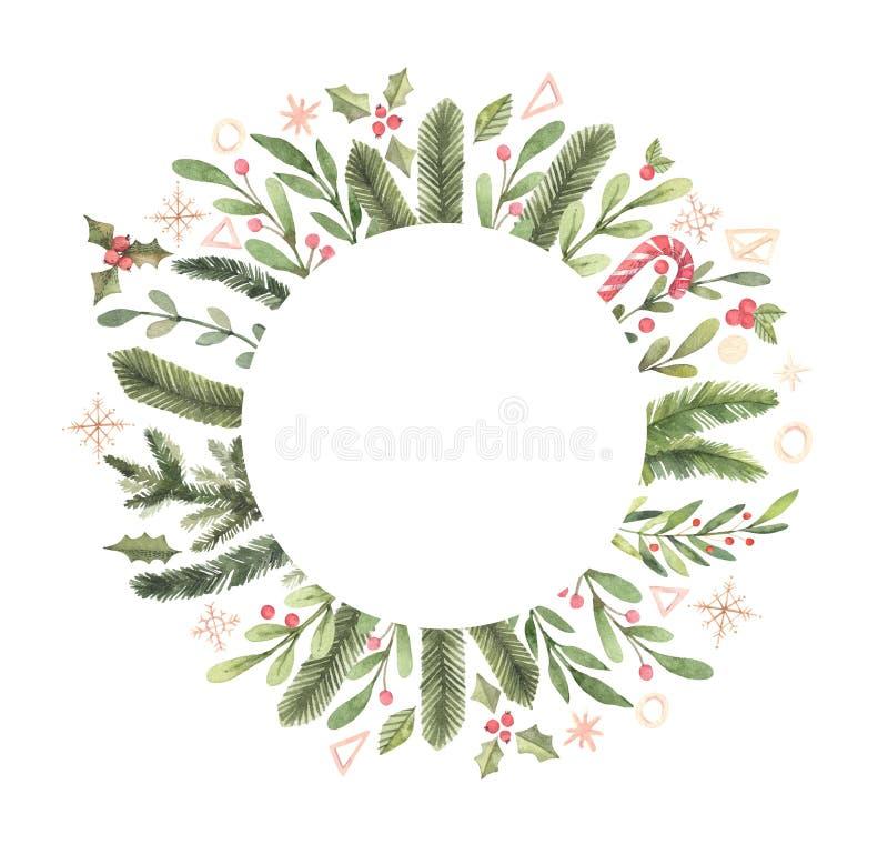 рождество веселое Ярлык круга акварели зимы с снежинками, иллюстрация вектора