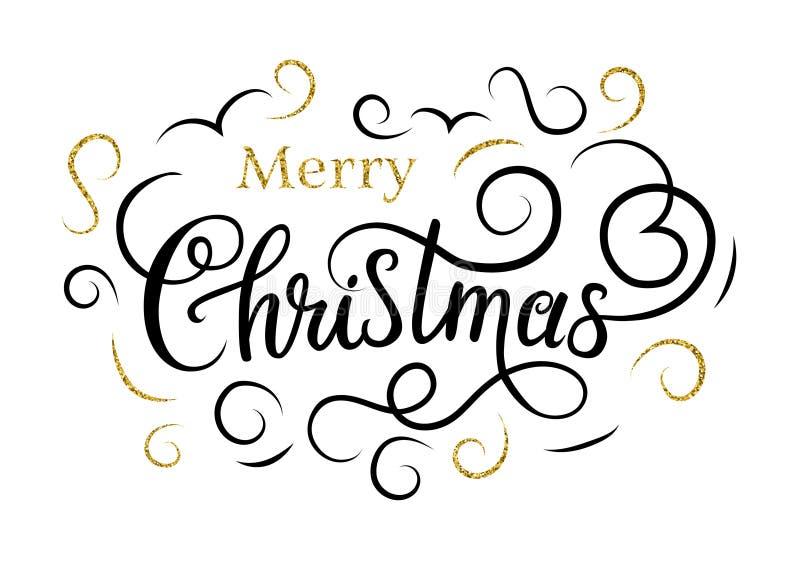 рождество веселое Handlettering с эффектными демонстрациями золота иллюстрация штока
