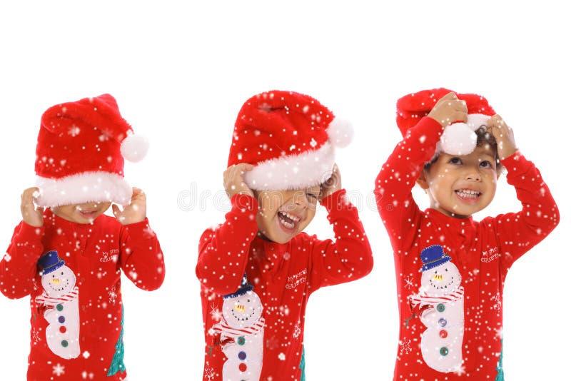 рождество веселые 3 детей стоковые изображения