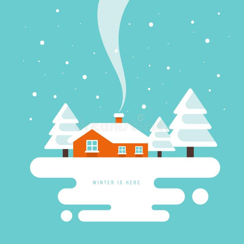 Рождество в городке и предпосылке идеи проекта ландшафта зимы плоской иллюстрация штока
