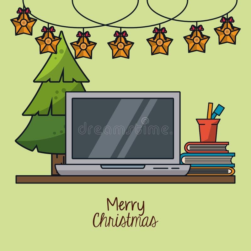 Рождество в офисе иллюстрация штока