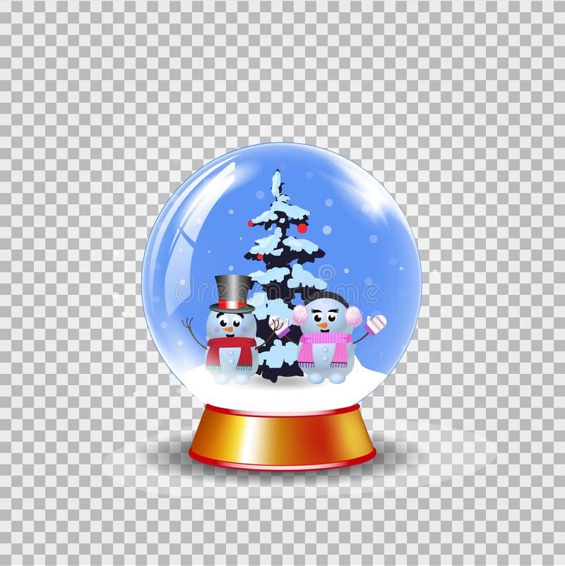 Рождество, глобус снега Нового Года кристаллический с милыми снеговиками на tran бесплатная иллюстрация