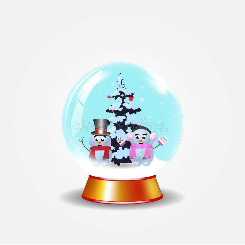 Рождество, глобус снега Нового Года кристаллический с милыми снеговиками на белой предпосылке иллюстрация штока