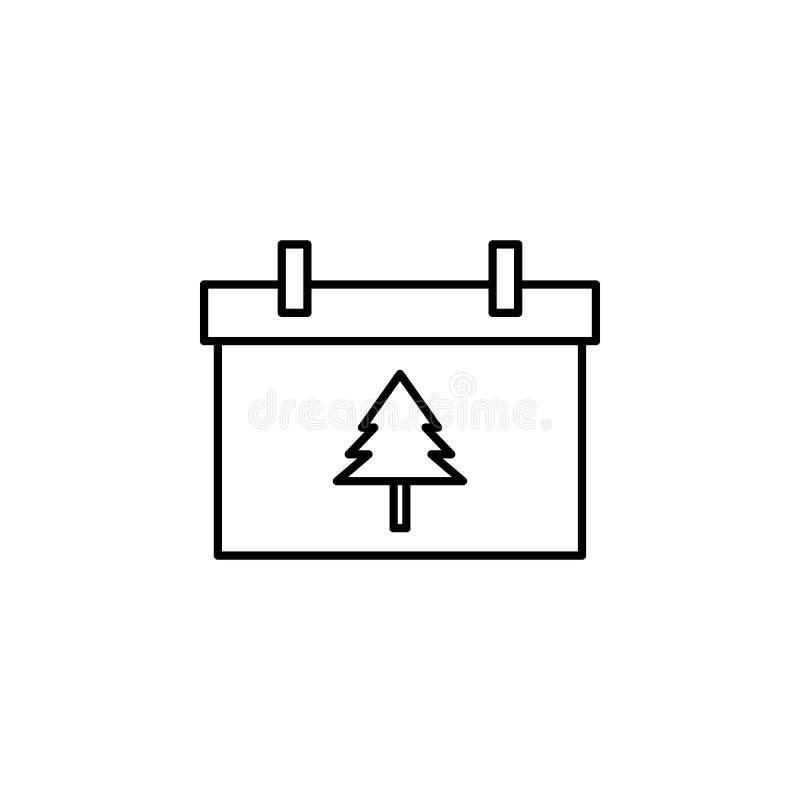 Рождество, значок плана календаря Элемент иллюстрации Нового Года Наградной качественный значок плана графического дизайна подпис иллюстрация штока