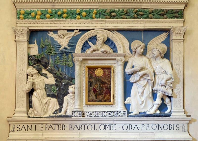 Рождество Иисуса в середине алтара показывая St Bartholomew, Raphael Архангела и Tobias стоковое изображение