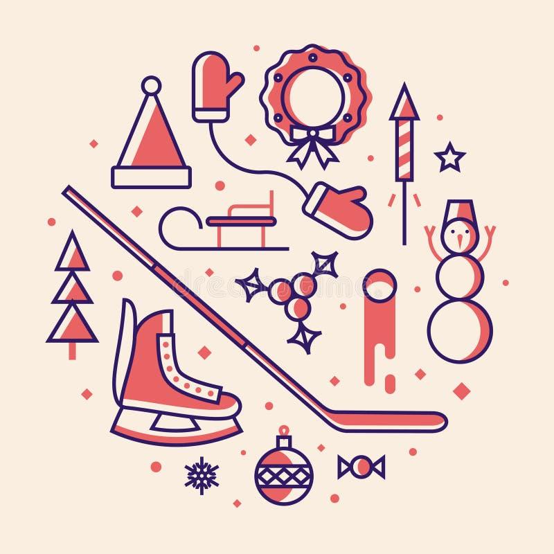 Рождество, иллюстрация вектора, набор значка плана: шляпа Санта Клауса, mittens, дерева xmas, коньков, шарика рождества, конфеты, бесплатная иллюстрация