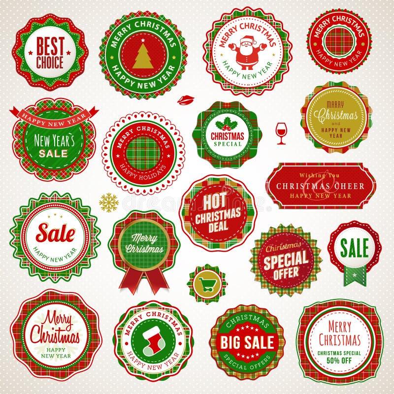 Рождество и значки и стикеры Новый Год бесплатная иллюстрация