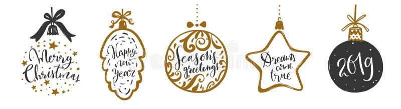 Рождество и литерность и каллиграфия Нового Года фразы установили 1 иллюстрация вектора