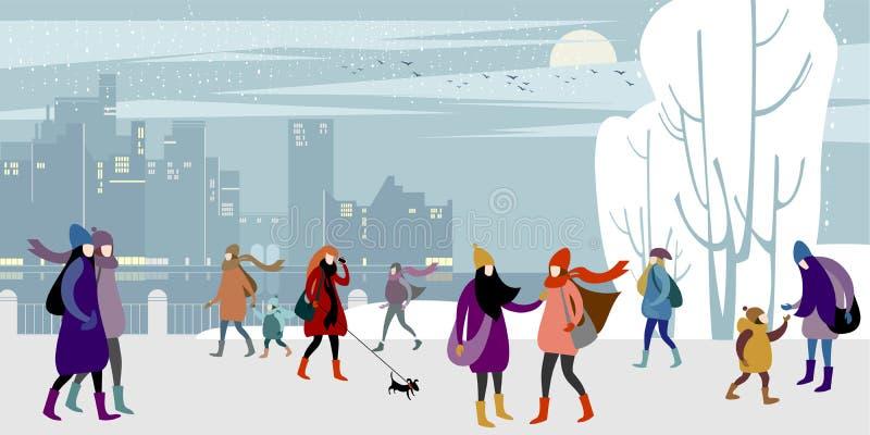 Рождество и Новогодняя ночь иллюстрация вектора