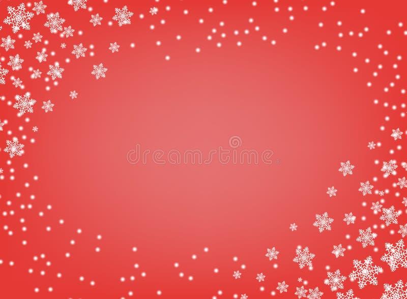 Рождество и Новый Год вектора рамки Красная изолированная предпосылка с белыми снежинками с космосом для текста Поздравительная о иллюстрация вектора